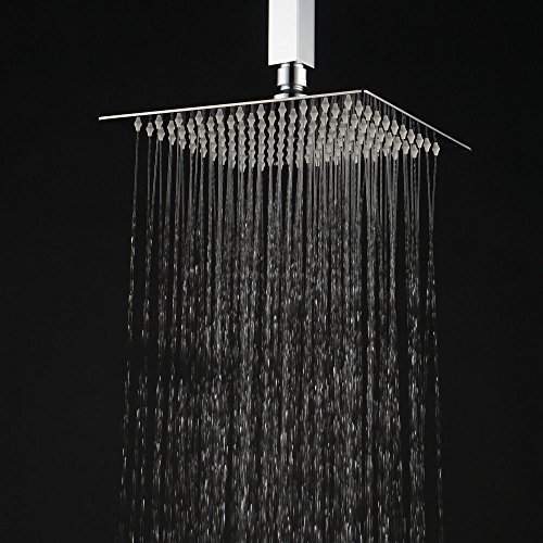 Hiendure 12-inch High Pressure Ultra Thin 304 Stainless Steel Square Rain Shower Head, Chrome
