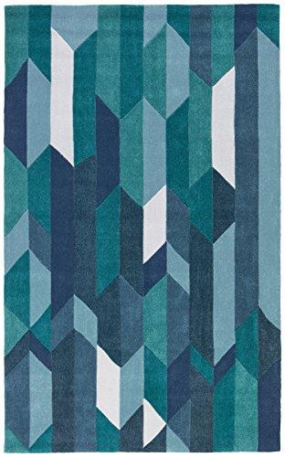 Rivet Geometric Color Blocking Rug, 5' x 8', Blue by Rivet