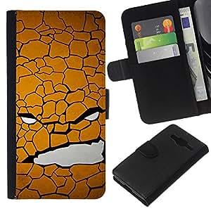 Planetar® Modelo colorido cuero carpeta tirón caso cubierta piel Holster Funda protección Para Samsung Galaxy Core Prime / SM-G360 ( Texture Face )