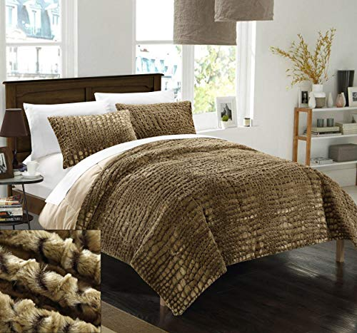 Chic Home 3 Piece New Faux Fur Collection with Mink Like Backing in Alligator Animal Skin Design Comforter Set, Queen, Gold