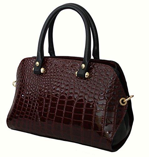 c20cf11853dec Sa-Lucca italienische Handtasche Damentasche Henkeltasche echt Leder Tasche  Lack bordeaux ...