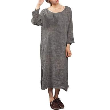 POTTOA Robe Longue Lin Femme, Femme Grande Taille Jupe Lin Casual  Combinaison Solide Loose Daily 7bbd6ba7e893