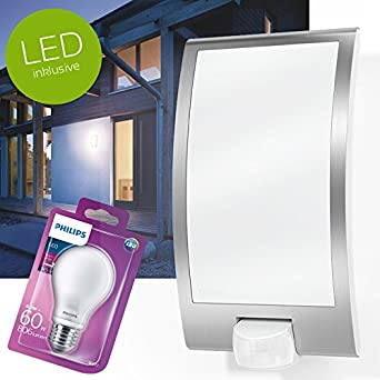 Lámpara LED L22, de Steinel; con detector de movimiento, para exterior, de color blanco, incluyebombilla LED E27 de Philips: Amazon.es: Iluminación