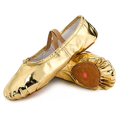 JOINFREE-Girls-Womens-Leather-Ballet-Flats-Slippers-Dancing-Shoes-with-No-Slip-Soles-Gold-65-BM-US-Women