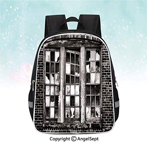 Nylon Fabric Backpack,Broken Window Missing Glass Pane Derelict Blight Factory Brick Wall Decorative,13