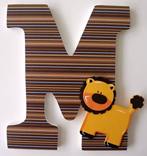 Amazoncom safari animal custom wooden letters baby boy for Large wooden letters amazon