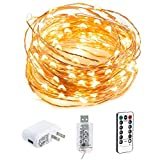 HSicily LED USB Fairy String Lights 8 Modes 49Ft 150 LEDs Starry Lights Plug in Remote Control with Timer for Wedding Christmas Party Bedroom Indoor Outdoor Decorative (Warm White)