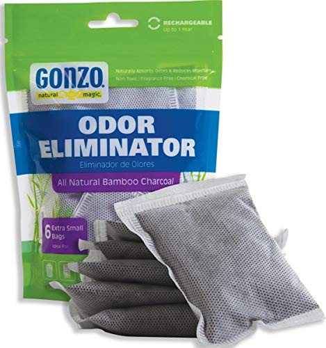 l Odor Eliminator Bags [6 Extra Small Bags 10g] Natural Purifying Charcoal Odor Absorber Air Freshener ()