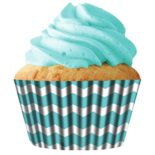 Turquoise Chevron Standard Cupcake Baking Cup Liners, 32
