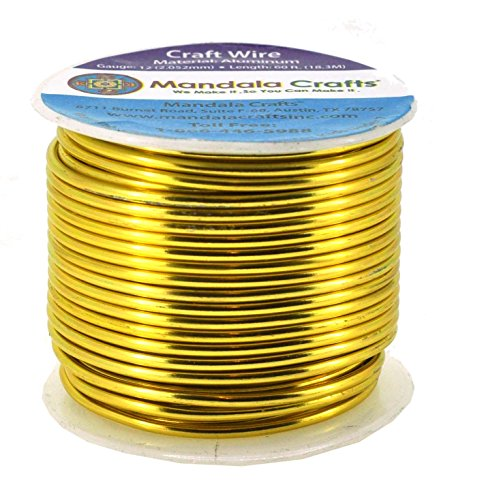 Mandala Crafts 12 14 16 18 20 22 Gauge Anodized Jewelry Making Beading Floral Colored Aluminum Craft Wire (12 Gauge, Light Gold) Colored Wire Jewelry