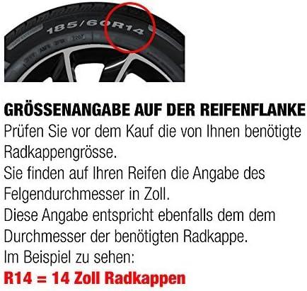 """Fussmatten-Deluxe 4er Set Universal Radkappen Radzierblenden 15 Zoll 15/"""" R15 universell f/ür Stahlfelgen vieler Fabrikate Bicolor Schwarz-Gr/ün"""