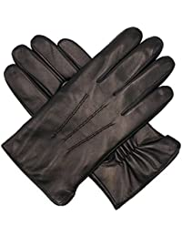 Mens Luxury Italian Sheepskin Leather Gloves Vintage Finished Wool Lined