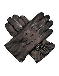 Harssidanzar Mens Luxury Italian Sheepskin Leather Gloves Cashmere Lined