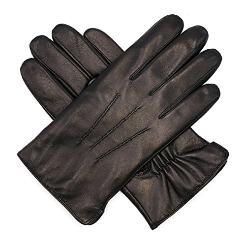 (Harssidanzar Mens Luxury Italian Sheepskin Leather Gloves Cashmere Lined, Black, XXL)