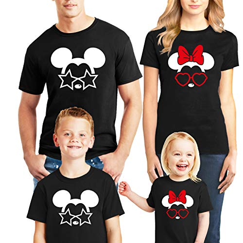 Natural Underwear Family Trip and Mouse with Glasses Stars and Heart Men Women Kids Youth Boys Girls T Shirts Black Women Medium -