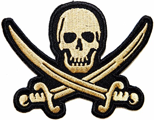 Gold Pirate Skull Sword Cross Biker Patch Iron On Embroidered Jacket T Shirt Hat ()