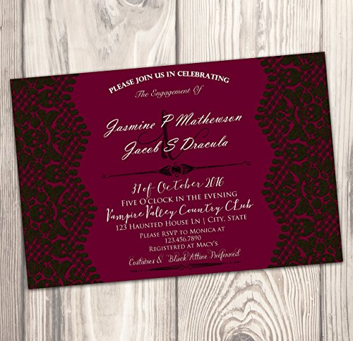 Halloween Engagement Party Invitations (Halloween Engagement Party Invitation - Spooky Skull Lace Wedding Shower Invite - Rehearsal -)