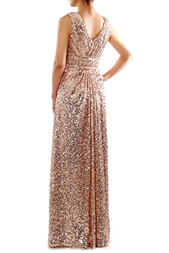 V Ruched Straps Long Silver Formal Evening MACloth Sequin Dress Bridesmaid Gown Neck 1qIYTZ