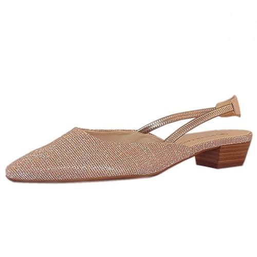 9696224c1205e Peter Kaiser Castra Women s Dressy Low Heel Sandals in Powder Shimmer 7  Powder SHIMR