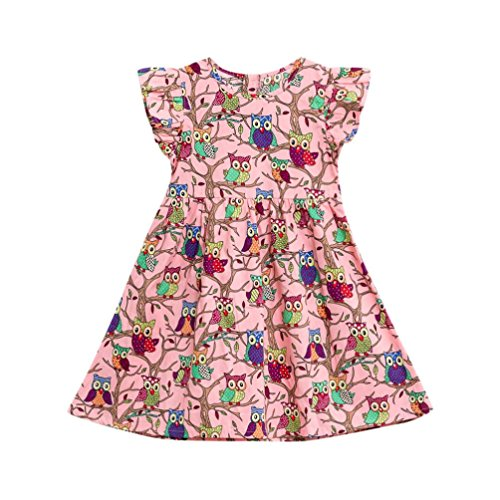 vermers Clearance Sale! Baby Girls Kids Clothes - Infant Toddler Floral Cartoon Sleeveless Princess Dress(18M, Pink)