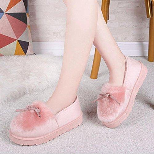 Transer® Damen Warm Weich Mokassins Casual Schuh Baumwolltuch+Gummi (Bitte achten Sie auf die Größentabelle. Bitte eine Nummer größer bestellen. Vielen Dank!) Pink