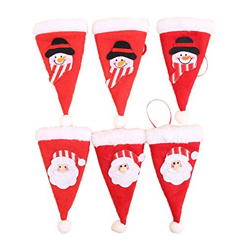 6pcs/lot Christmas Decoration For Home Christmas Silverware Holder Mini Xmas Tree Santa Claus Hat