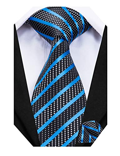 - Dubulle Long Ties for Men with Hanky Striped Blue Necktie