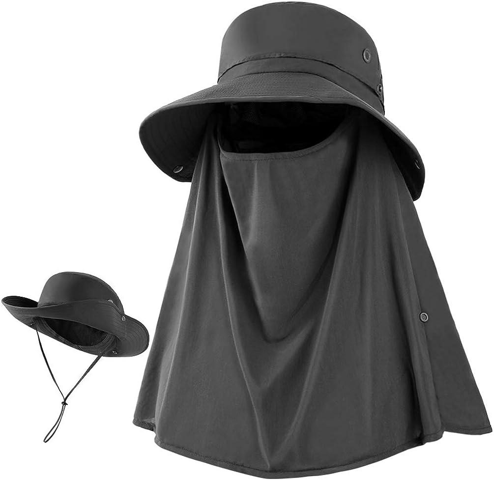 VBIGER Sombrero de Sol Protección UV para el Verano ala Ancha Pesca Plegable Sombreros con Solapa Extraíble y Malla Transpirable