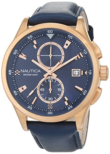 Nautica Men's 'NCT 19 FLAGS' Quartz Stainless Steel and Leather Casual Watch, Color:Blue (Model: NAD19558G)