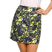 Zeagoo Women Bargello Elastic Waist Print Split Hem Everyday Mini A-Line Zoom Skort