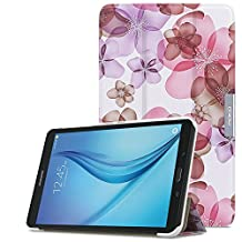 MoKo Samsung Galaxy Tab E 8.0 Case - Ultra Lightweight Slim-shell Stand Cover Case for Samsung Galaxy Tab E 8.0 Inch SM-T377 4G LTE Verizon / Sprint Tablet, Floral PURPLE