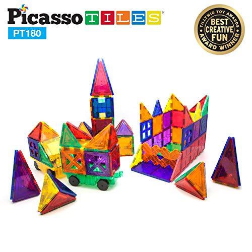 PicassoTiles PT180 Piece Set 180pc Building Block Toy Deluxe Construction Kit Magnet Building Tiles Clear Color Magnetic 3D Construction Playboards Educational Blocks Creativity Beyond Imagination -