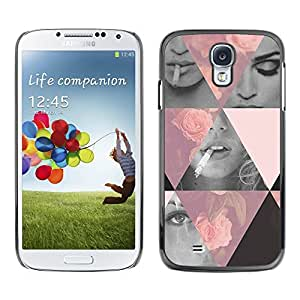 LECELL--Funda protectora / Cubierta / Piel For Samsung Galaxy S4 I9500 -- Roses Vignette Fashion Design Girl Smoke --