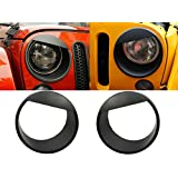 Sunluway Black Bezels Front Light Headlight Angry Bird Style Trim Cover ABS For Jeep Wrangler Rubicon Sahara Jk 2007-2015 by Sunluway