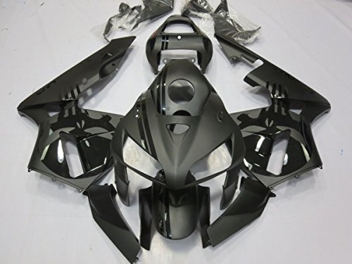 (FocusAtOne Matte Black with Skull Complete Fairing Bodywork Painted ABS Plastic Injection Molding Kit w/Tank Cover for 2005-2006 Honda CBR 600 RR CBR600RR 600RR)
