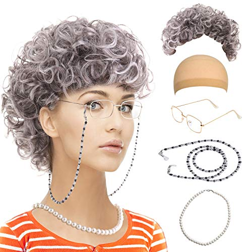 Feacole Old Lady Costume Set-Grandmother Wig,Wig Caps,Madea Granny Glasses, Eyeglass Retainer Chain,Pearl Necklace(5 Pieces) Fits All, -