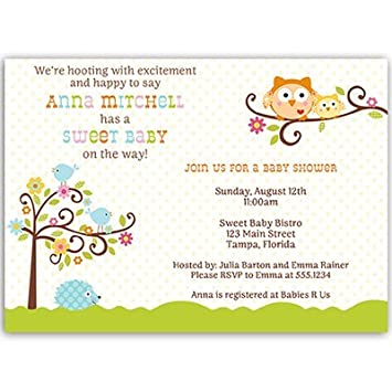 Amazon happi tree baby shower invitation owl hedgehog happi tree baby shower invitation owl hedgehog rainbow unisex 10 filmwisefo