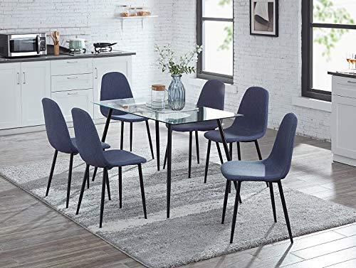 IDS Home Clear Glass Dining Table and Chair Set, Kitchen Dining Room Furniture Rust Resistant Metal Leg Frame (1 Table&6 PICS Dark Grey Chairs)