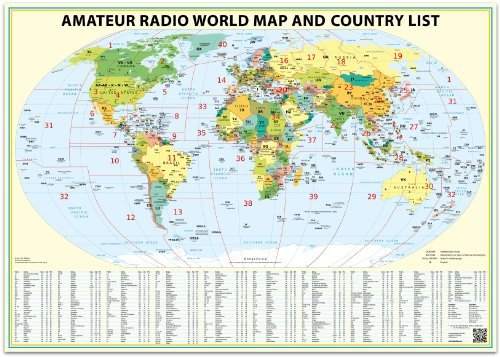 24x36 Ham Radio World Map 2019 Edition, with The DXCC Country List.