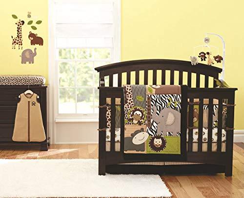 Crib Bedding Sets, Jungle Elephant Crib Nursery Bedding Set for Baby Boys and Girls, 7-Piece