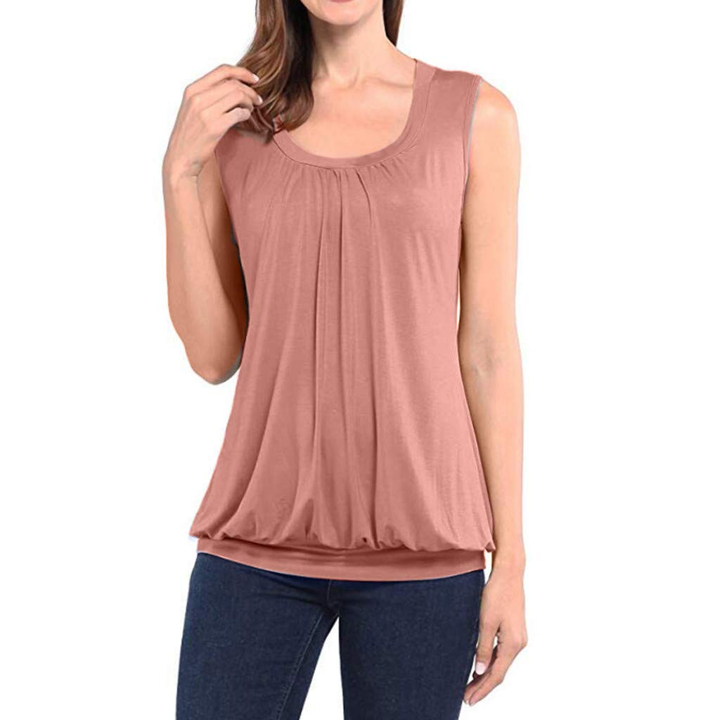 Women New Summer Round Neck Sleeveless T-Shirt Top Fashion Casual Solid Sleeveless T-Shirt Blouse (Pink, XXXXL)