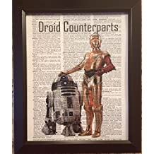 Star Wars Droid Counterparts Dictionary Book Page Artwork Print Picture Poster Home Office Bedroom Wall Decor