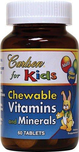 Carlson Labs - キッズ チュアブル ビタミンやミネラル ブルー味はラズベリー - 60チュアブル錠 B003BVIDM2