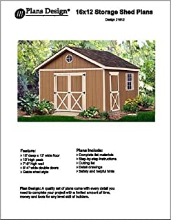 16 x 12 gable storage shed project plans design 21612