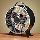 "12.5"" Deep Ebony Black Vintage Style Metal Table Fan"