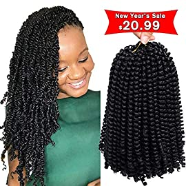 3Pcs/lot Spring Twist Hair Ombre Colors Crochet Braids Bomb Twist Hair Synthetic Braiding Hair Extensions Low Temperature Fiber (8inch, 1b)