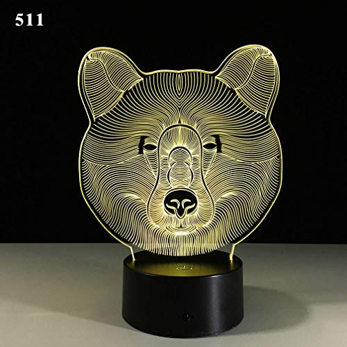 Price comparison product image NEAER Bear 3D Night Light Touch Switch Table Desk Optical Illusion Lamps USB 7 Color Changing Acrylic Flat Lights Birthday Gift Toys Home Bedroom Bedside Bar Decoration