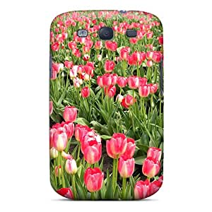 New Galaxy S3 Case Cover Casing(pink Tulips Garden)
