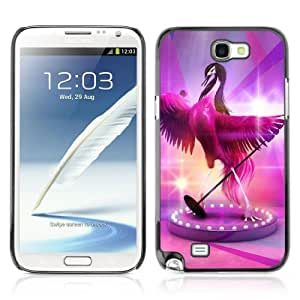 Designer Depo Hard Protection Case for Samsung Galaxy Note 2 N7100 / Cute Fabulous Pink Signing Bird