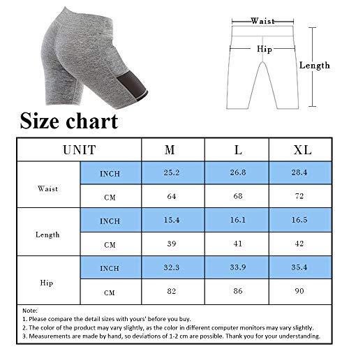 YASEN ART Women\'s Compression Workout Shorts with Side Pockets Tummy Control High Waist Yoga Shorts Athletic Running Shorts Grey